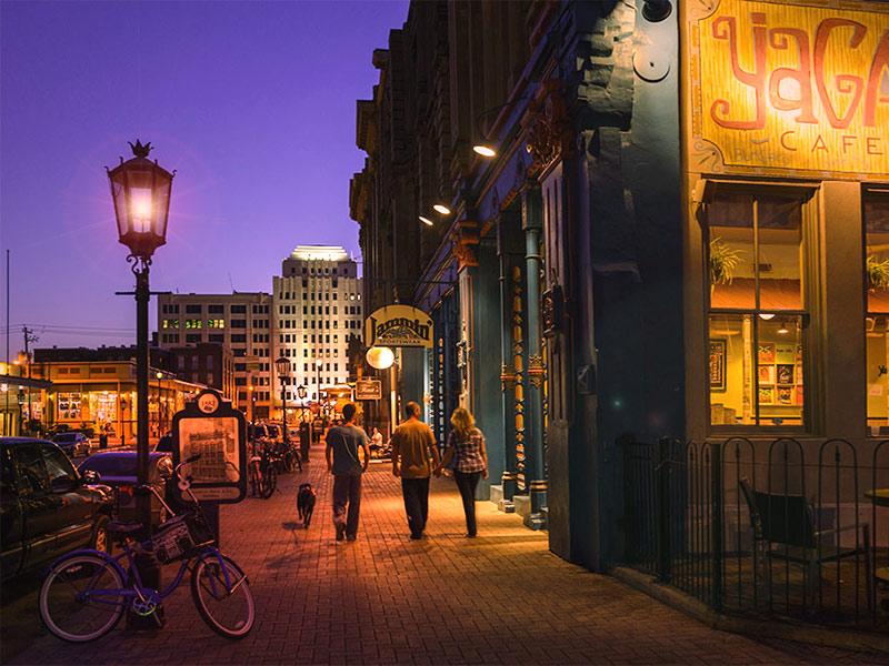 Galveston Strand Near Yaga's Cafe at Night