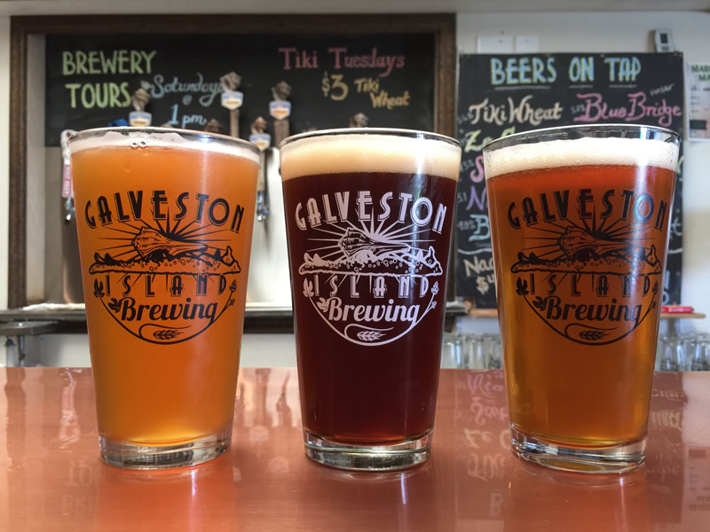 Pints of Beer at Galveston Island Brewery
