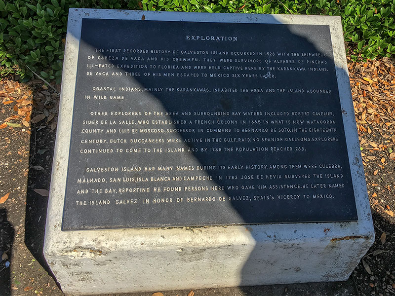 Exploration of Galveston County Historical Marker