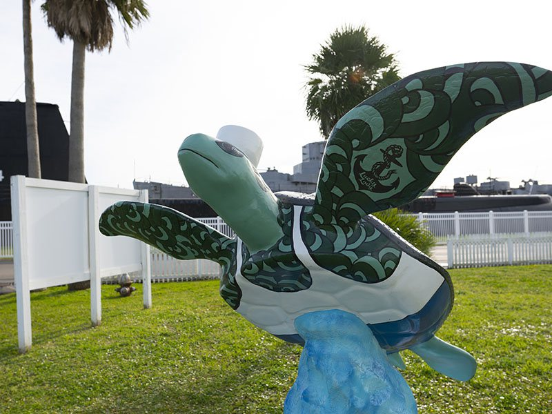 Zeke - Turtles About Town Sculpture at Galveston Naval Museum