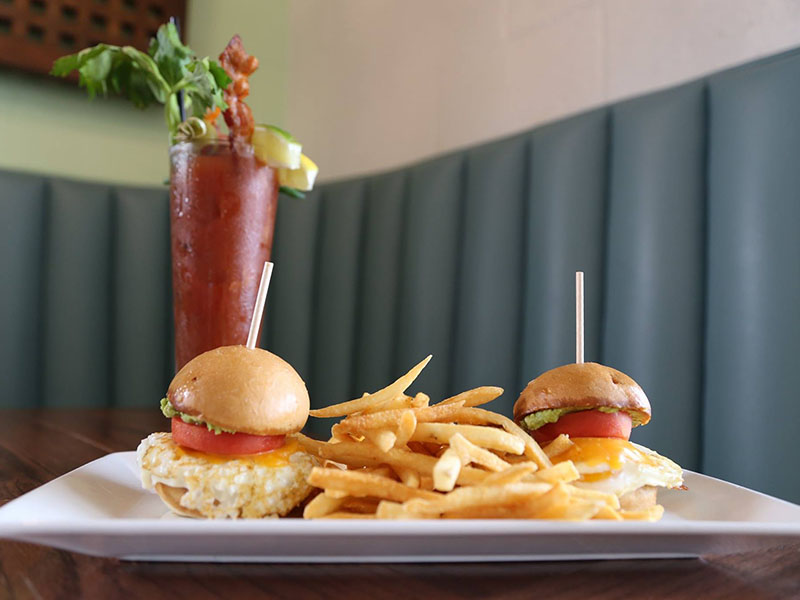 Bloody Mary with the BLVD Bob Fried Egg Sandwich