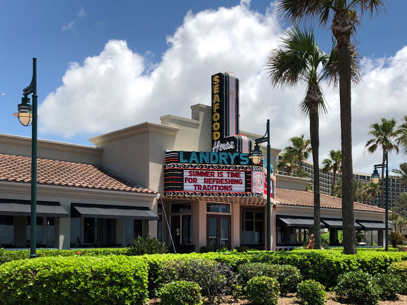 View of Landry's Seafood House from Seawall Boulevard