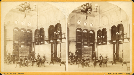 Stereograph of the Galveston Cotton Exchange Interior
