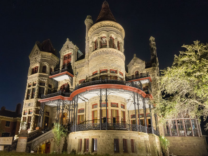 Exterior Nighttime View of 1892 Bishop's Palace, courtesy of Illumine Photographic Services