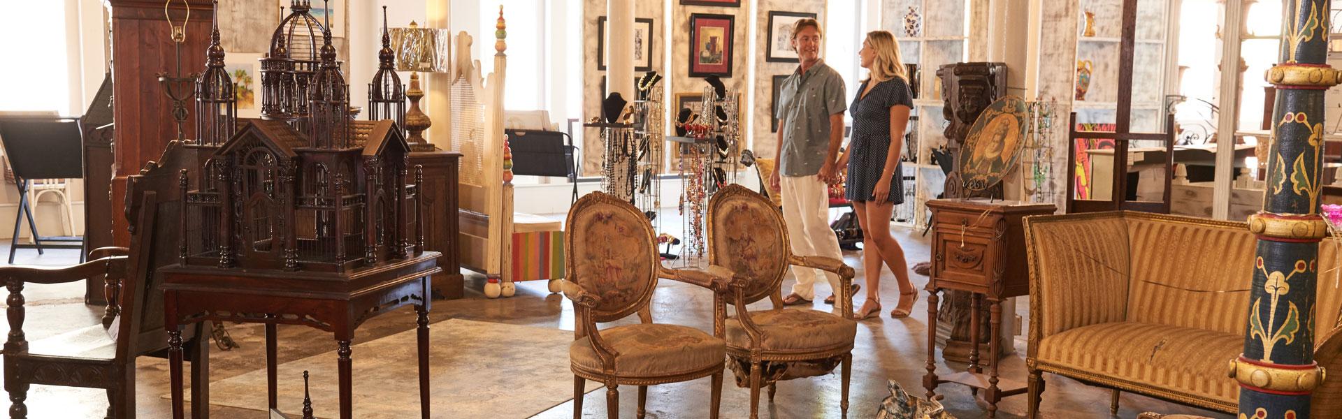 Couple Shopping in Eiband's Emporium, Galveston TX