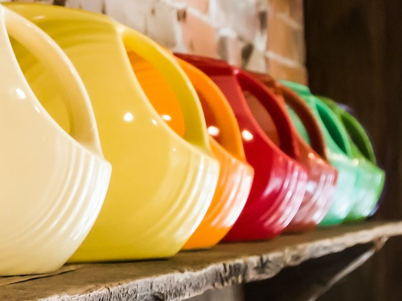 Colorful FiestaWare Pitchers