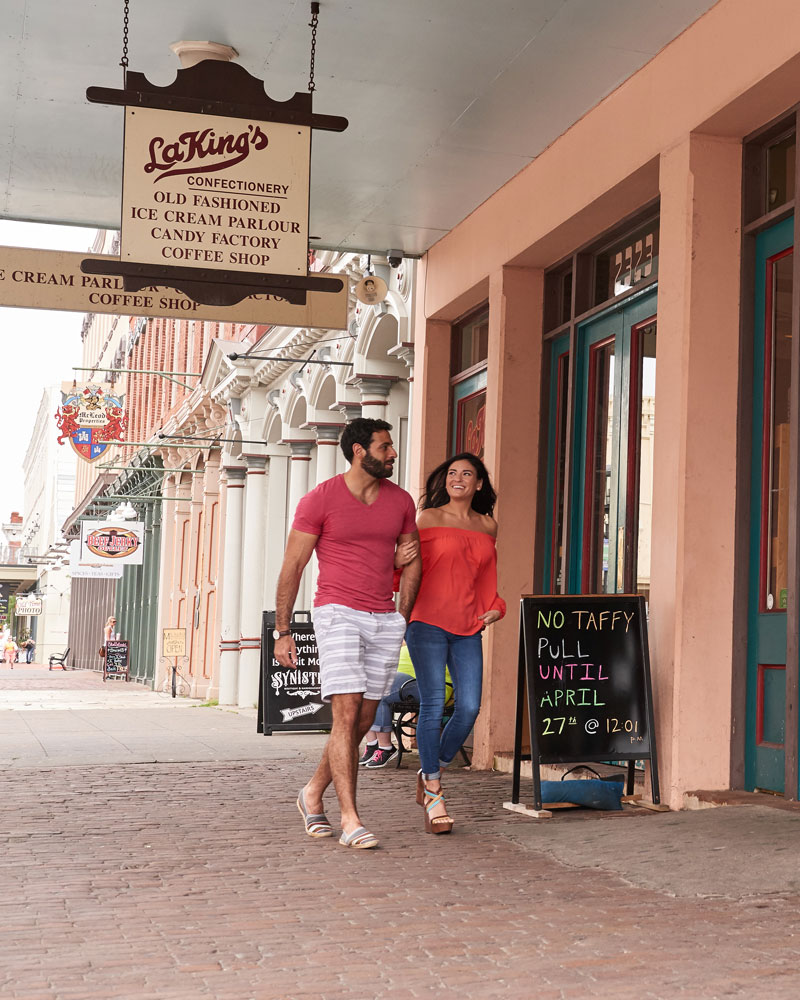 Couple Entering LaKing's Confectionery on The Strand