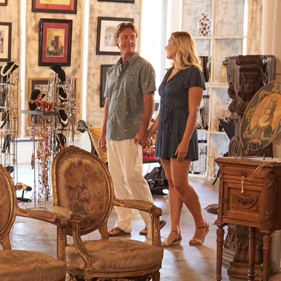 Couple Shopping in Downtown Antiques Store