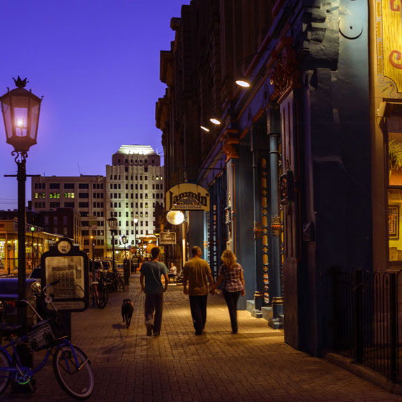 Friends Walking Down The Strand at Night, Galveston, TX