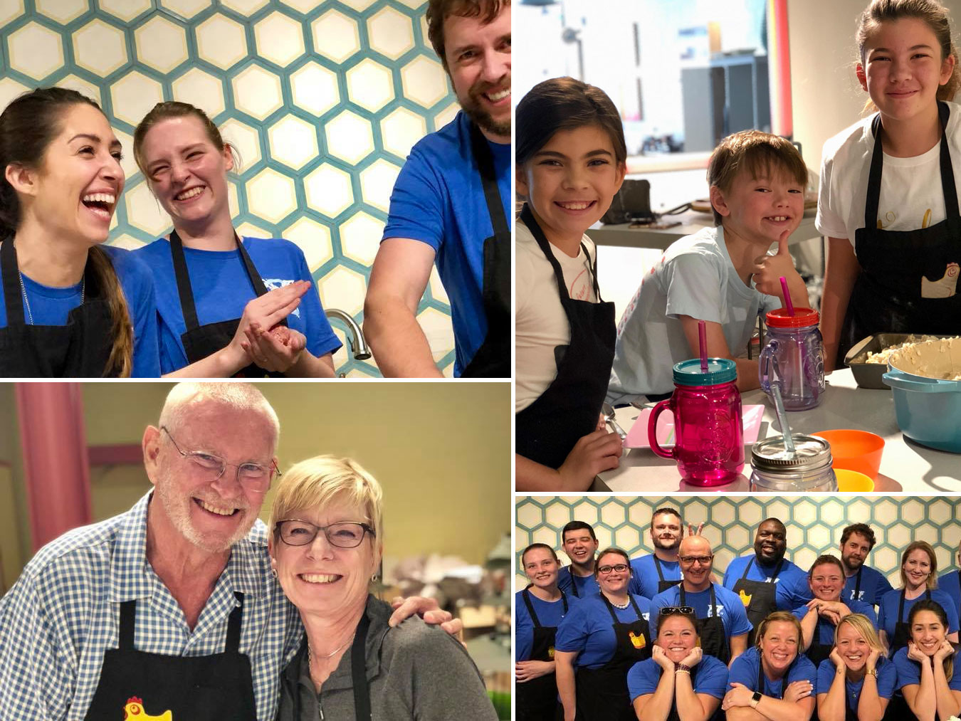 Collage of Participants in Cooking Classes at Kitchen Chick