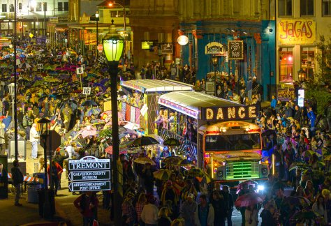 Mardi Gras parade traveling down The Strand