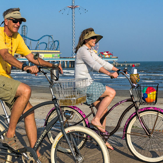 Couple Biking on Seawall