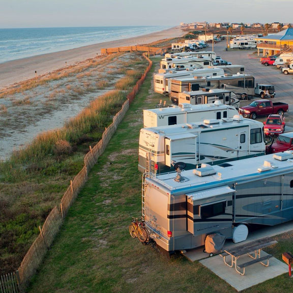 Aerial View of Dellanera RV Park, Galveston TX