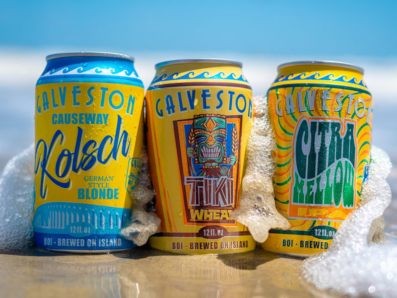 Several Flavors of Beer by Galveston Island Brewing Co.