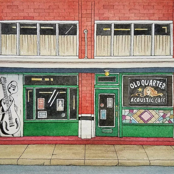 Illustration of the Exterior of Old Quarter Acoustic Cafe, Galveston TX