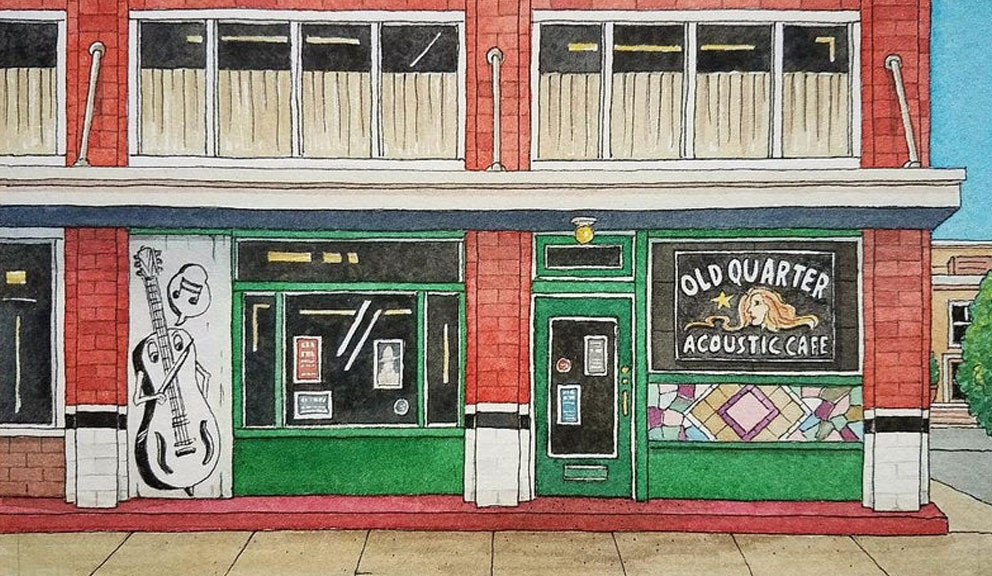 Illustration of the Exterior of Old Quarter Acoustic Cafe, Galveston