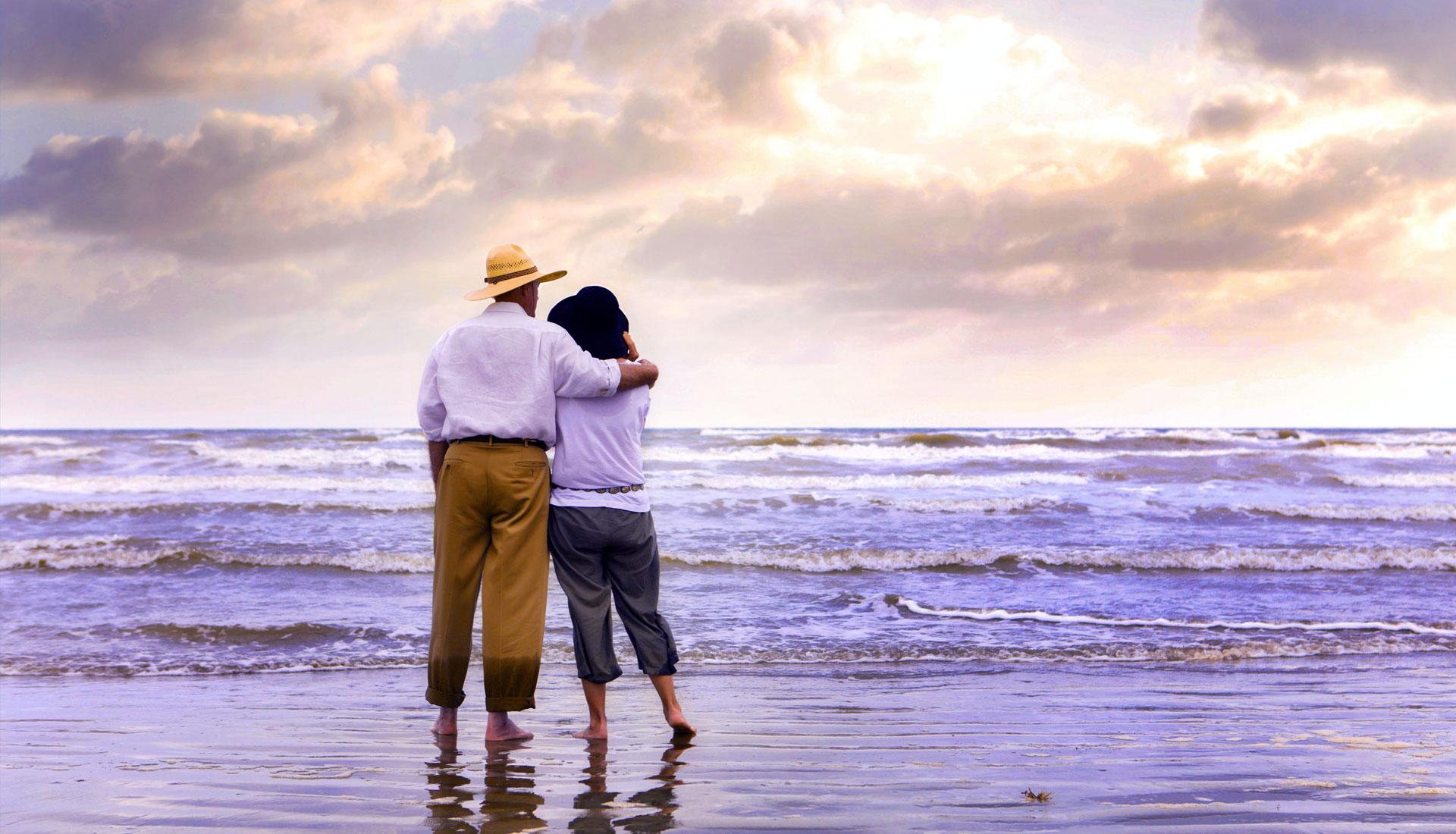 Couple at Beach Overlooking the Gulf, Galveston, TX