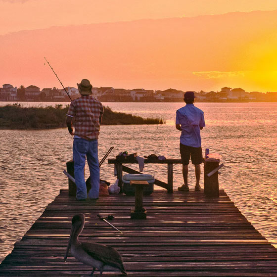 Two Guys Fishing on a Local Galveston Pier