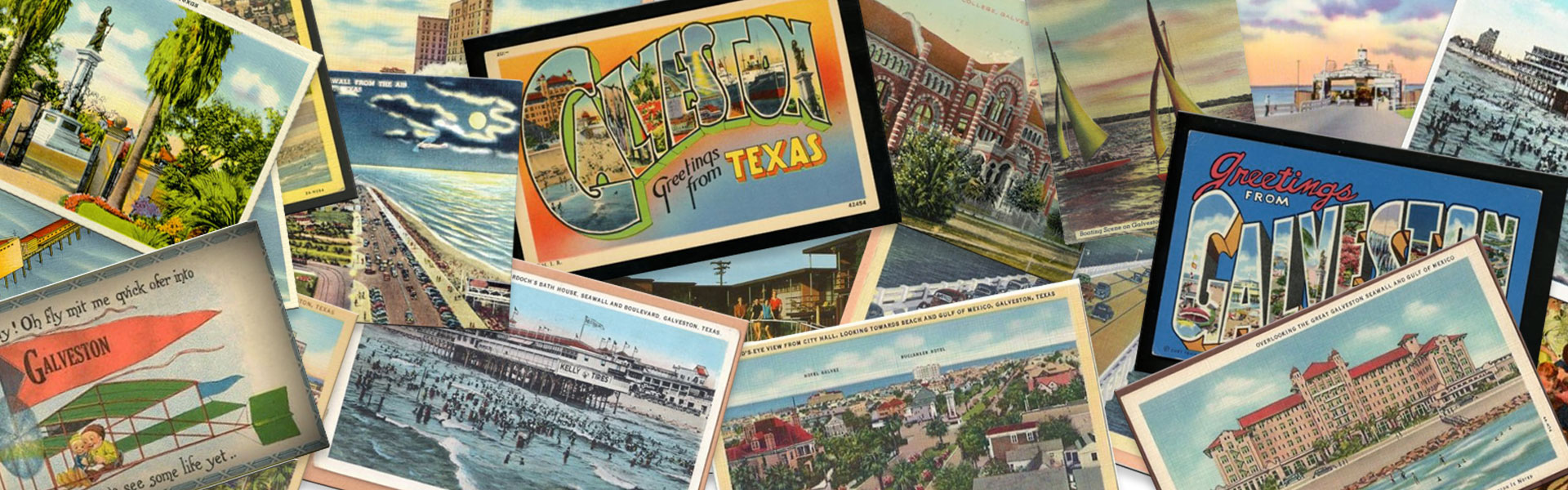 Collage of Vintage Galveston Island Postcards, Galveston, TX