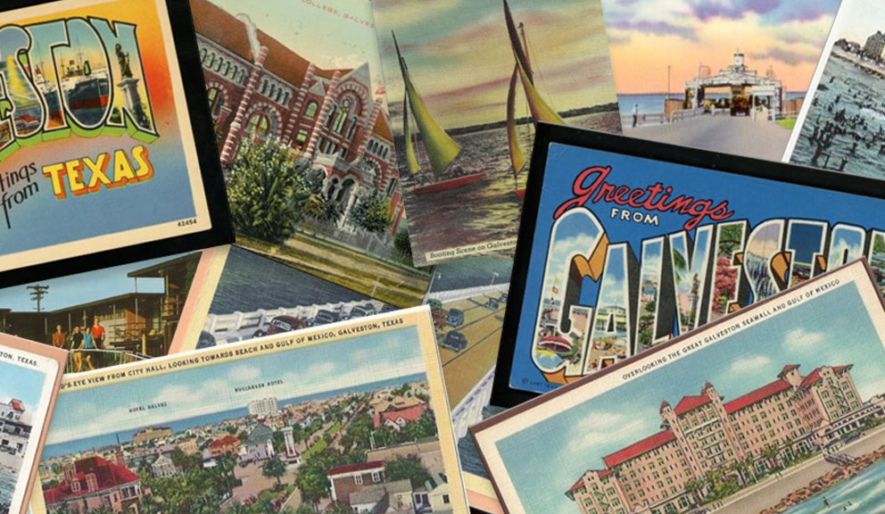 Collage of Vintage Galveston Island Postcards