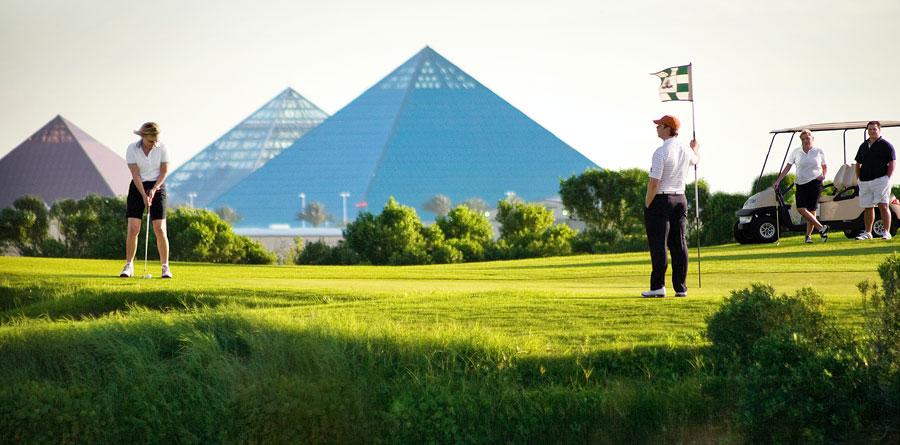 Golfing at Moody Gardens Golf Course, Galveston, TX