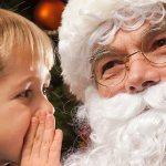 A Boy Whispering to Santa Claus