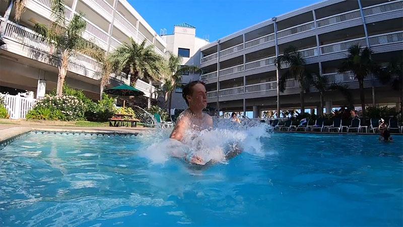 Boy Splashing in Casa del Mar Pool