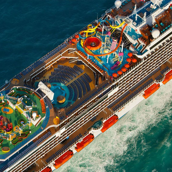 Overhead View of Cruise Ship