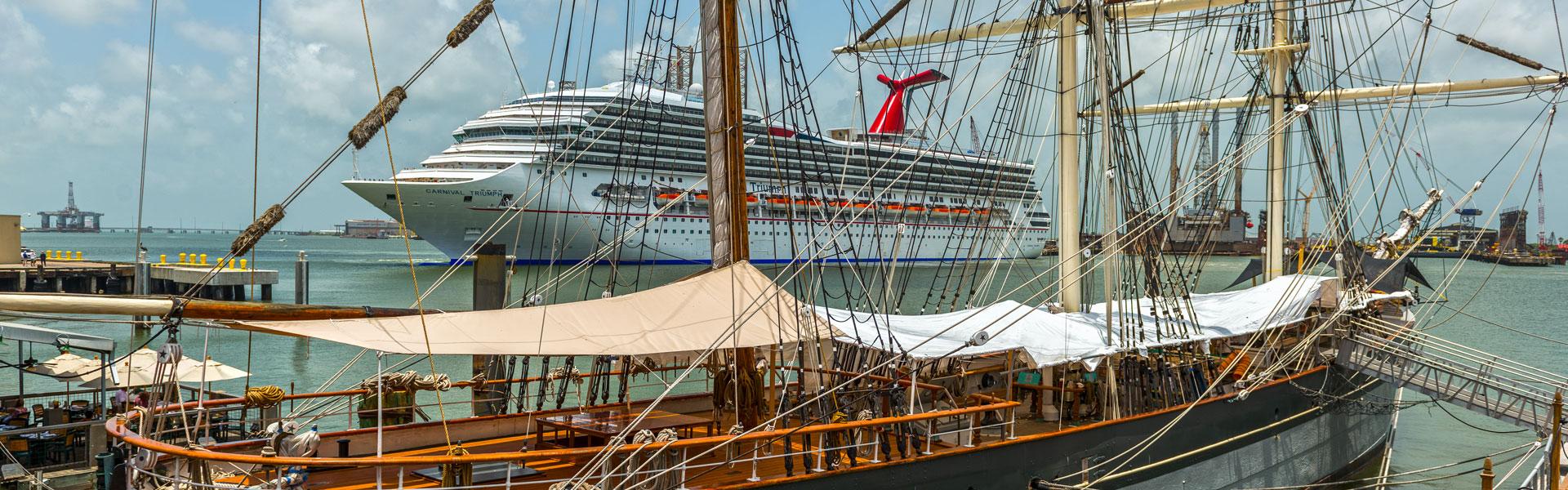 Cruise Ship and Elissa in Harbor, Galveston, TX
