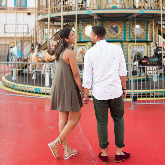 Couple Visiting Galveston Island Historic Pleasure Pier