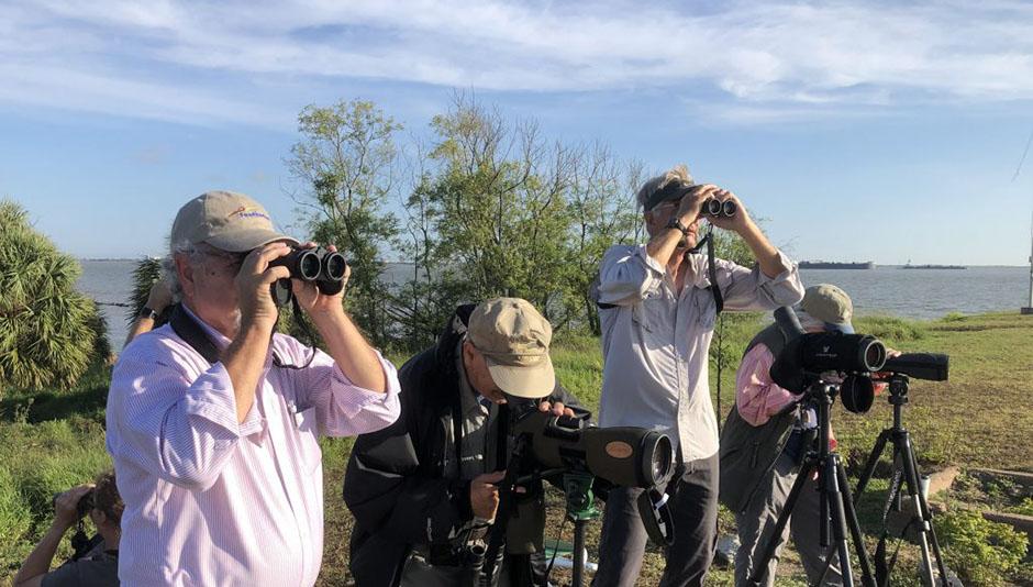 Birders at the Big Sit at Fort San Jacinto