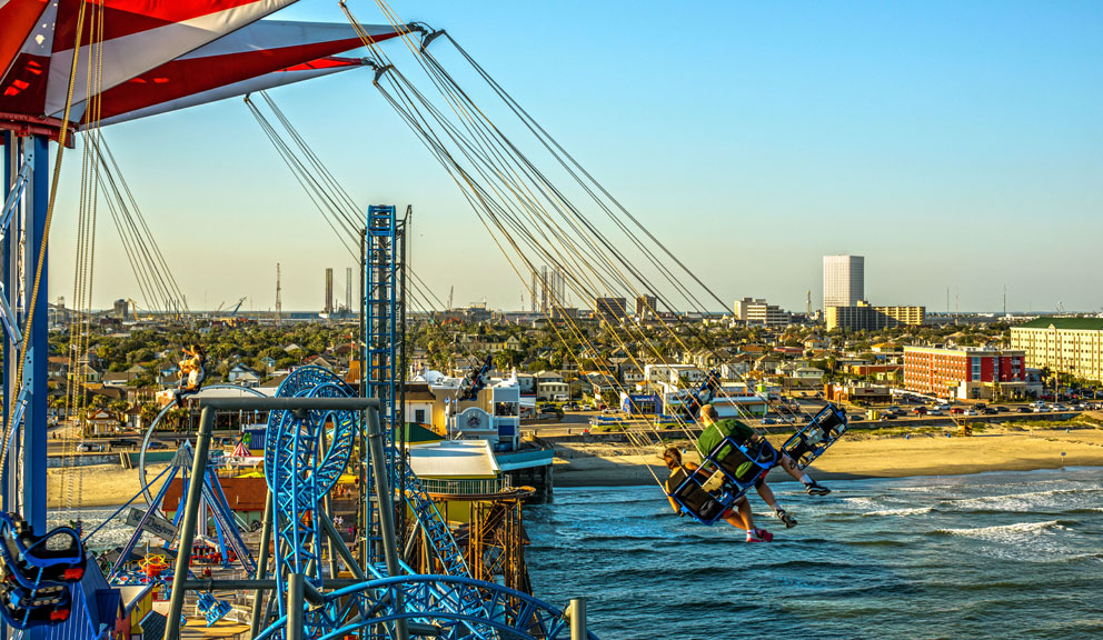 Flying Over the Gulf at Pleasure Pier, Galveston, TX