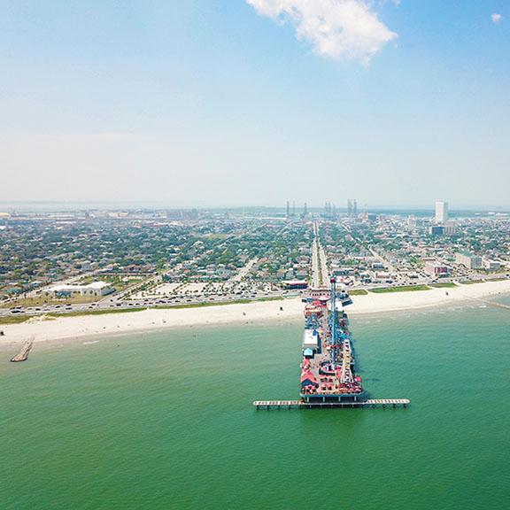 Aerial View of Seawall and Pleasure Pier