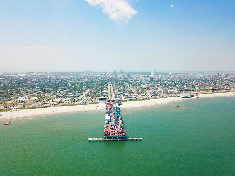 Aerial View of Seawall and Pleasure Pier