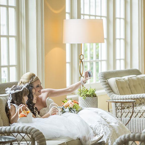 Bride Taking Selfie at Hotel Galvez
