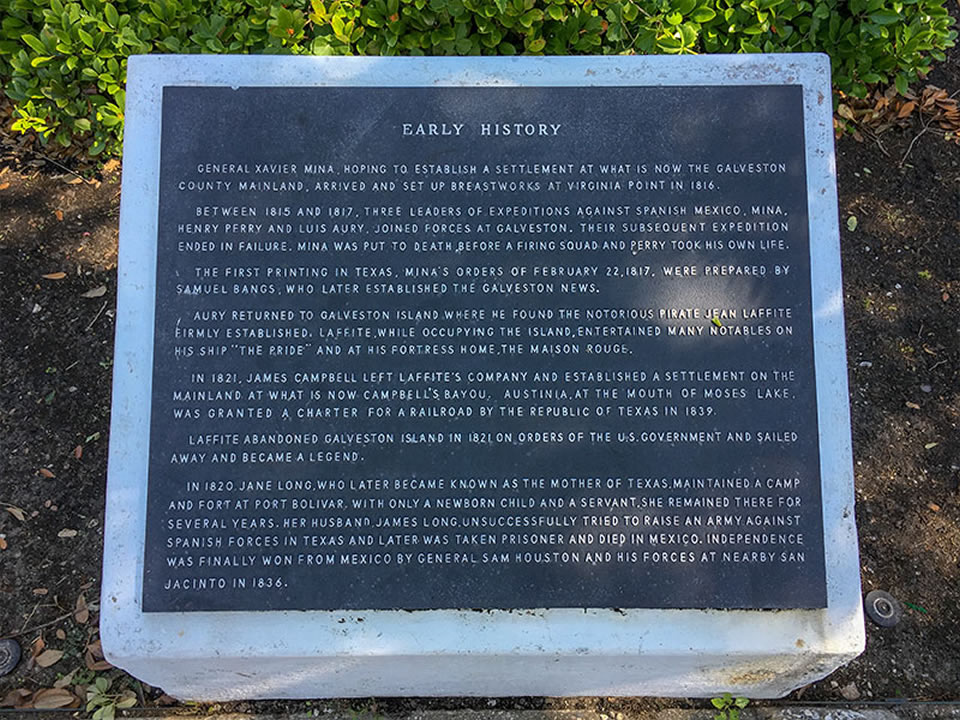 Easrly History of Galveston County Historical Marker