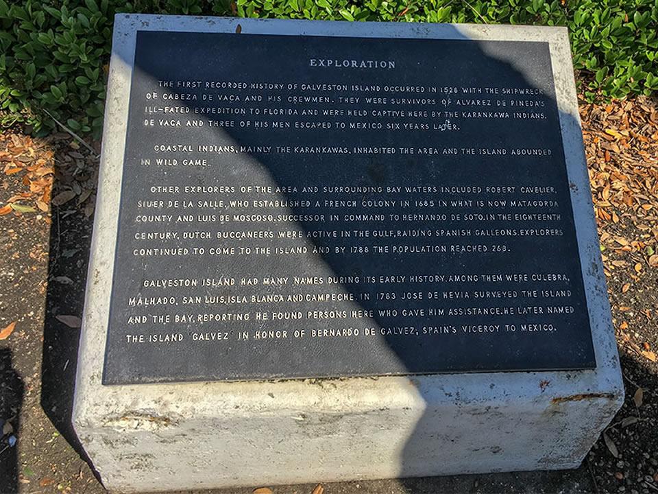 Exploration of Galveston County Historical Marker