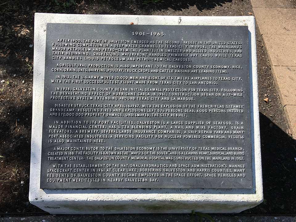 Galveston County 1901-1965 Historical Marker