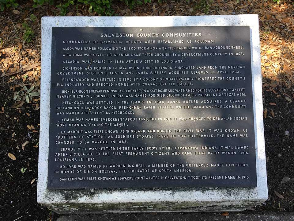 Galveston County Communities Historical Marker