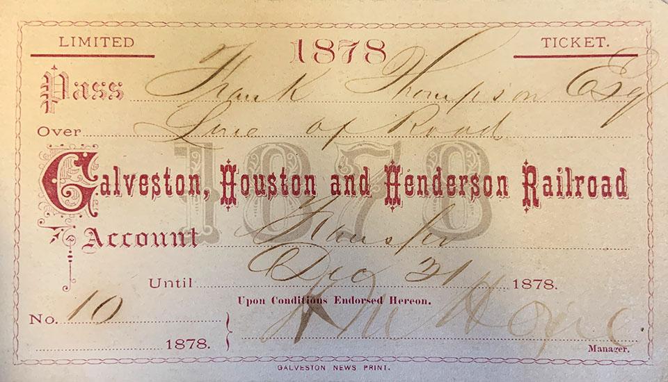 1878 Railroad Ticket