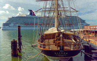 Departing Cruise Ship Passes Tall Ship ELISSA