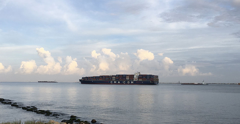 Ship on Bolivar Roads