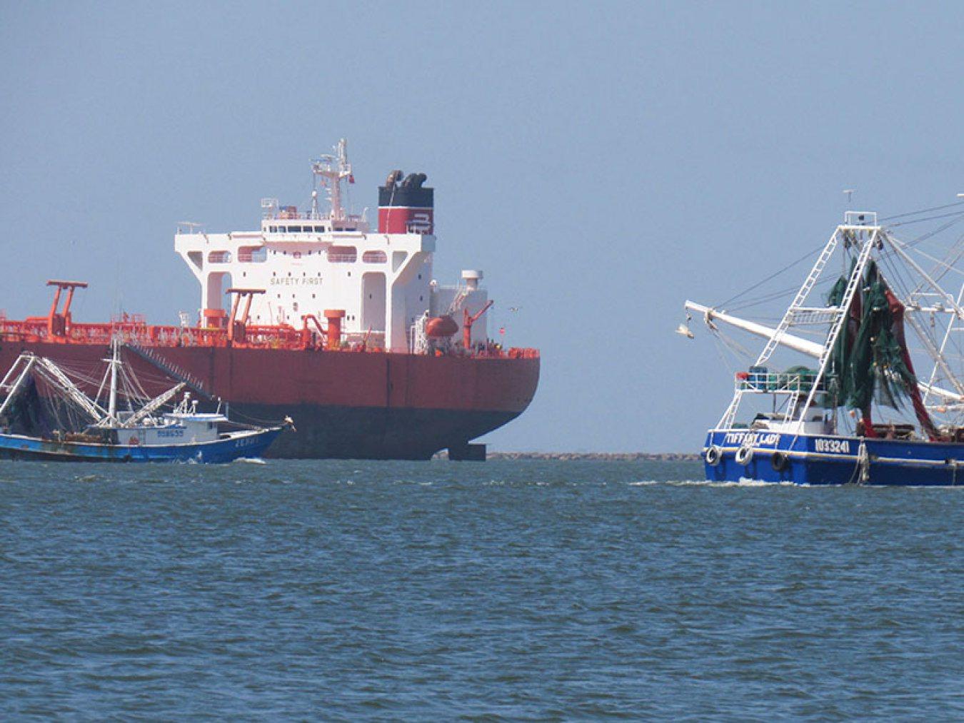 Shrimp Boats and Ship on Bolivar Roads