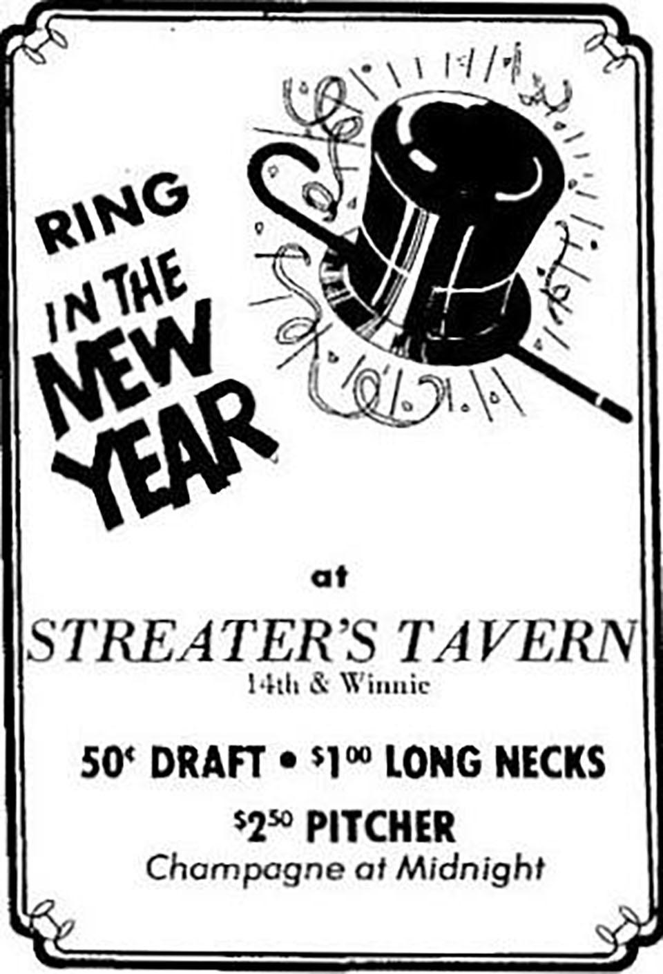 Streater's Tavern Ad