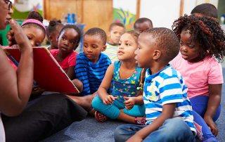 Elementary School Students Enjoying Storytime