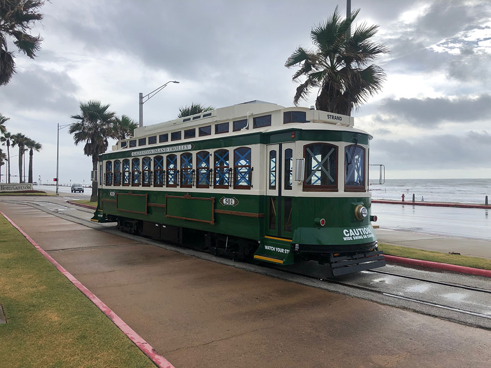 Galveston Historic Trolley Parked on Seawall during Hurricane Laura