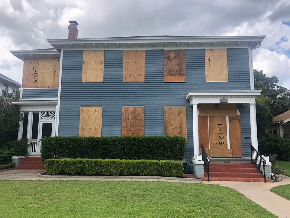 Home Boarded Up for Hurricane Laura