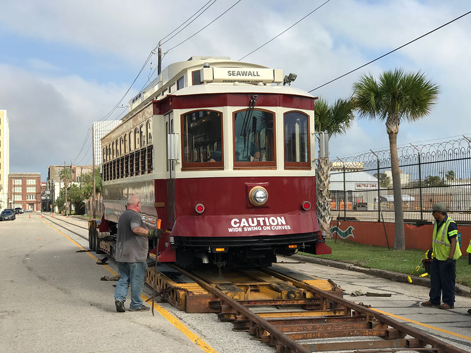 Historic Trolley 502 on Trailer
