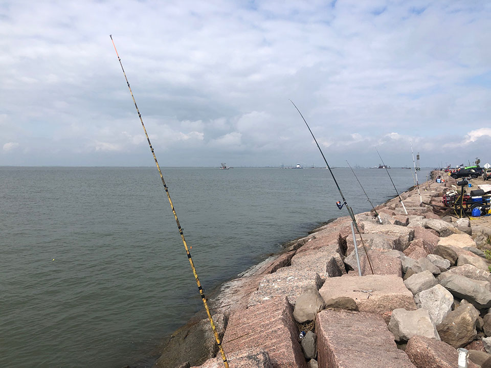 Fishing Poles at Texas City Dike