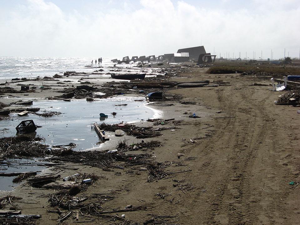 Galveston Island State Park beachfront after Hurricane Ike